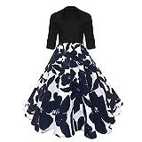[Rockabilly Kleid Damen] Festlich Kleid 1/2 Arm Kleid mit Revers Elegant Spleiß Kleid Audrey Hepburn Kleid Vintage Abendkleid Knielang Partykleid Cocktailkleid-L