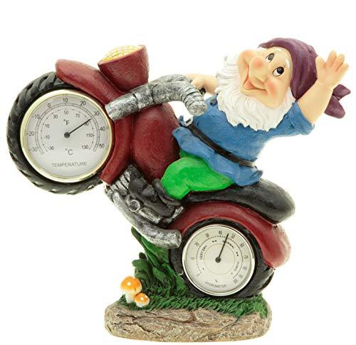 hLine Gartenzwerg auf Motorrad mit Thermometer und Luftfeuchtigkeit