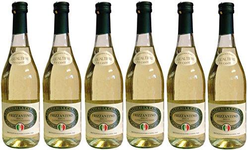 Frizzantino bianco dolce Gualtieri Dell`Emilia IGT (6 x 0,75 L) - Vino Frizzante - Weißer Süßer Perlwein 7,5 % Vol. aus Italien