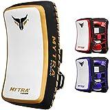 Mytra Fusion thai pad kick shield mma kickboxing muay thai training pad arm pad strike shield (White Gold)