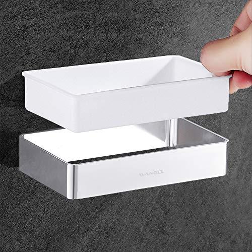 Colla Brevettata Wangel Porta Asciugacapelli Mensola di Asciugacapelli con Funzioni di Stoccaggio Multiple Alluminio e Plastica ABS Autoadesivo Finitura cromata