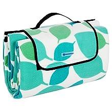 SONGMICS GCM78Y GCM78Y-XXL Fleece Picnic Blanket, XXL, Insulated, Waterproof, with Carrying Handle, Türkise Blätter, 200 x 200 cm