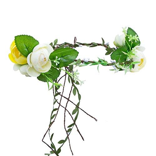 DamenBlumen Stirnband Hochzeit Haarkranz - AWAYTR Blume Krone Blumenkranz Baby/Mädchen (Grün + Gelb + Hellgelb) (Grün-blumen-stirnband)