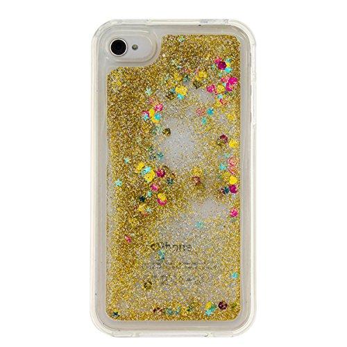 iPhone 4 Hülle, iPhone 4S Hülle, Gift_Source [ Gold ] Transparent Weiche Silikon Schutzhülle TPU Bumper Case Schutz Handy Hülle Case, Creative 3D strom flüssiger durchdrungen von glitzer und sterne Hü E1-Gold