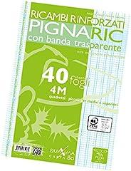 Pigna 02194594M, Ricambio con Banda Rinforzata, Rigatura 4M, quadretti 4 mm per 4° e 5° elementare medie e sup