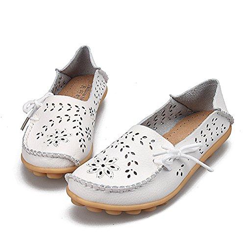 Signore Mocassini Morbidi Mocassini Slip On Piselli Scarpe Basse Scarpe Vintage In Pelle Da Donna Scarpe Da Barca Casual Pantofola Bianca