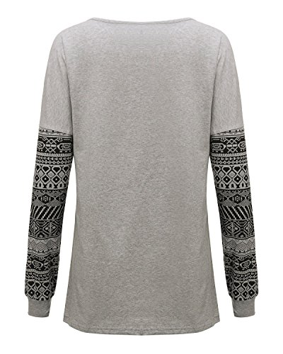 ZANZEA Damen Langarm Lose Oversize Bluse Langshirt T-Shirt Hemd Oberteil Tops Hellgrau