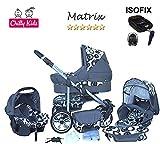 Chilly Kids Matrix II Kinderwagen Safety-Set (Autositz & ISOFIX Basis, Regenschutz, Moskitonetz, Schwenkräder) 14 Kreise Schwarz & Grafit