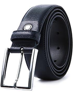 LUCHENGYI Cinturón Hombre Cuero Genuino Italiano Azul Oscuro con Hebilla Metálica 35mm