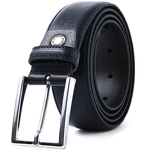 LUCHENGYI Cinturón Hombre Azul Oscuro Cuero Auténtico Italiano de Granos  Hebilla de Perno 35mm 110cm 00ac264b37eb