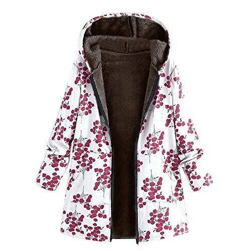 Wollmantel Damen Wolljacke Baumwollmantel Jacken Wintermantel Coat Light Casual Frauen Coat Wool Slim Cardigan Outdoorjacke Outwear Floral Mit Kapuze Taschen Vintage (Color : Wh3, Size : 3XL) Floral Wool Coat