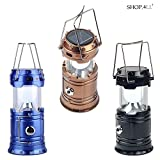 #8: Shop4All LED Solar Emergency Light Lantern + USB Mobile Charging+Torch Point, 2 Power Source Solar, Lithium Battery, Travel Camping Lantern - (Assorted Colours)