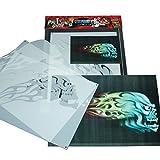 SCHNEIDMEISTER Airbrush Schablone Flaming Skull 002, Flammen, Skelett, ca. A4, SM-HBFS02