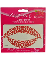 6E Lip Tattoo Red Heart 2 x Pack of 2 preiswert