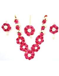 Floret Jewellery Mogra Pink Designer Flower Jewellery Set With Maang Tika And Earrings For Women & Girls (Mehandi...