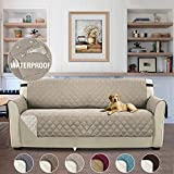 Reversible Non-Slip 100% Waterproof Dog Cover Quilted Sofa Slipcover Pets and Kids Furniture Protector for Living Room/Bedroom with Elastic Straps – 66'' x 75'' Sand
