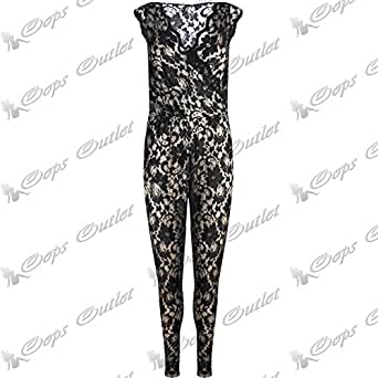 b67dbc80703 Be Jealous Ladies Net Sleeveless Full Lace Womens All In One Floral Piece  Jumpsuit Dress XL
