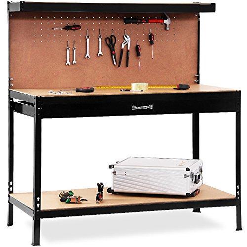 Werkbank 150x120x60cm - Werkstatttisch Packtisch Lochwand Profi Ausführung
