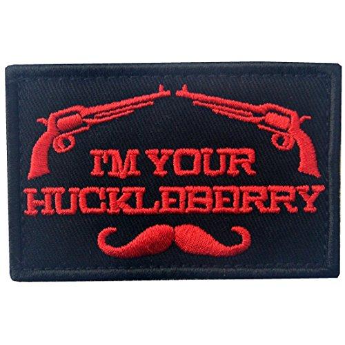 Themen Militär Kostüm - I 'm Your Huckleberry Patch Militär Arm Penetration Funny bestickt Tactical Aufnäher Army Moral Haken & Schleife Emblem rot