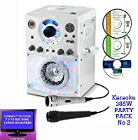 Executive BLUETOOTH Version Portable Karaoke Machine & CD Player �?? Family PARTY PACK 2 (2 Mics + 3 CD's) Home Disco Party Light �?? 2x Boys / Girls wired karaoke microphones + 56 Karaoke SONGS (3 CD ' S) CDG + Format (Connect to a TV to display lyrics f