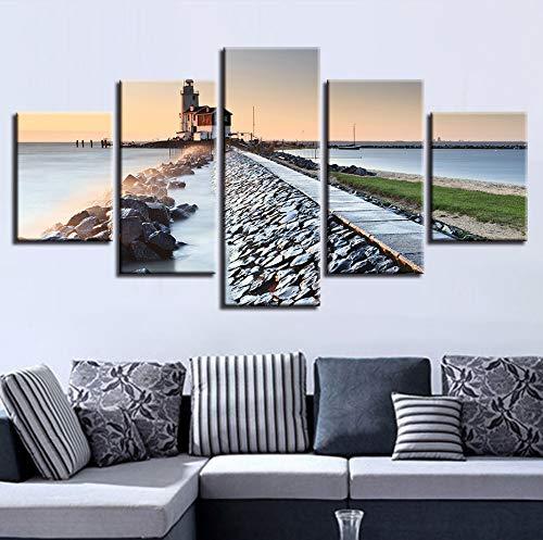 Wiwhy (Kein Rahmen) Modulare Leinwand Bilder Wandkunst Arbeit 5 Stücke Gebäude Steine Seascape Malerei Küche Decor Wohnzimmer Hd Drucke Poster