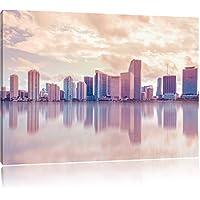 Miami Florida orizzonte al tramonto, Formato: 60x40 su tela, XXL enormi immagini completamente Pagina con la barella, stampa d'arte sul murale con telaio, più economico di pittura o un dipinto a olio, non un manifesto o un