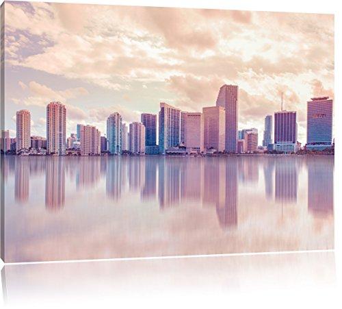 Miami Florida Skyline bei Sonnenuntergang, Format: 100x70 auf Leinwand, XXL riesige Bilder fertig gerahmt mit Keilrahmen, Kunstdruck auf Wandbild mit Rahmen, günstiger als Gemälde oder Ölbild, kein Poster oder Plakat