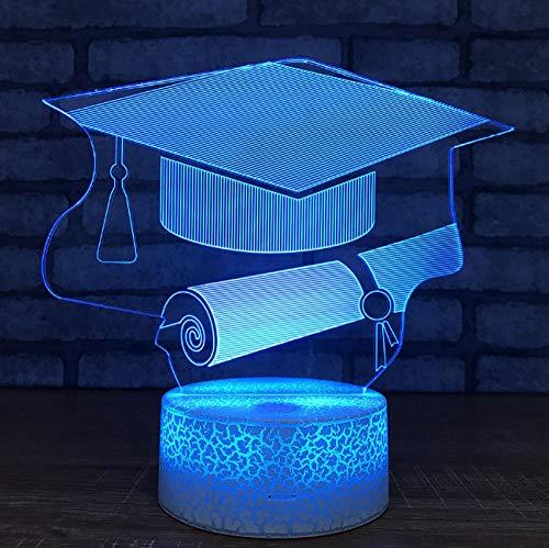 schenke Großhandel Bachelor Hut Nachtlichter Led 3d Lampe Kinderzimmer Licht Weiß basis Schöne 7 farbwechsel Kinder Lampe ()