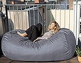 Der größte Sitzsack Europas - Outdoor Version - Riesiger Giga Sitzsack in Grau mit 1500l Memory...
