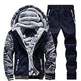 Best adidas Mens Yoga Pants - HOMEBABY Men Warm Fleece Sport Hooded Sweatshirt Coat Review
