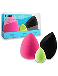 Beauty Makeup Sponge Blender Trio - Set of 3 including Mini Sponge to Blend Conceal Contour and Highlight - Flawless Makeup Application - Ecofriendly Latex Free and Hypoallergenic!