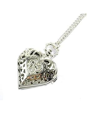 GSPStyle Damen Metall Taschenuhr Anhänger Halskette Quarz Uhren Herz Silbrig Schmuck