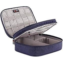 Universal Organiser Tragbar Veranstalter Reise Tragen Fall Case Reisetasche Organisator Tasche mit Doppelschichte für Elektronikzubehör, iPad Mini,USB Kabel ,Speicherkarten …
