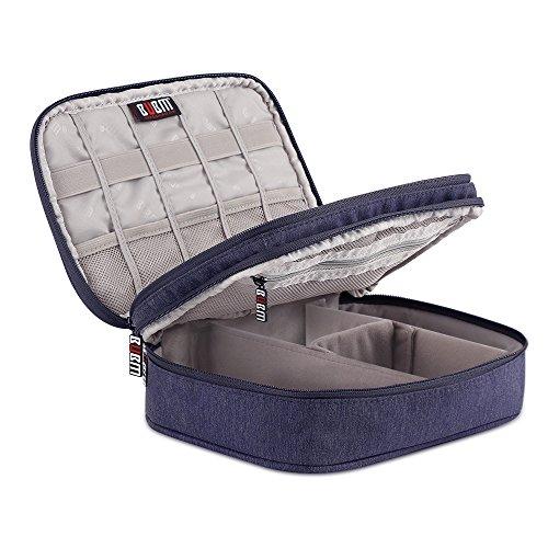 Elektronik Organizer Tasche, ATailorBird Veranstalter Reise Tragen, Fall Case Reisetasche Organisator Tasche mit Doppelschichte für Elektronikzubehör, Tablette,USB Kabel (S) (Kindle Flash-ladegerät)