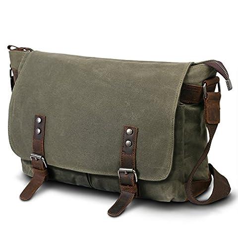 SUVOM® Mens Canvas Laptop Messenger Bag Leather Crossbody Shoulder School Satchel-14 Inch