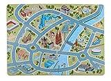 Happy CITY Kids Spielteppich KÖLN, Design-Strassenteppich fürs Kinderzimmer, 180 x 130 cm, samtweich, waschbar,