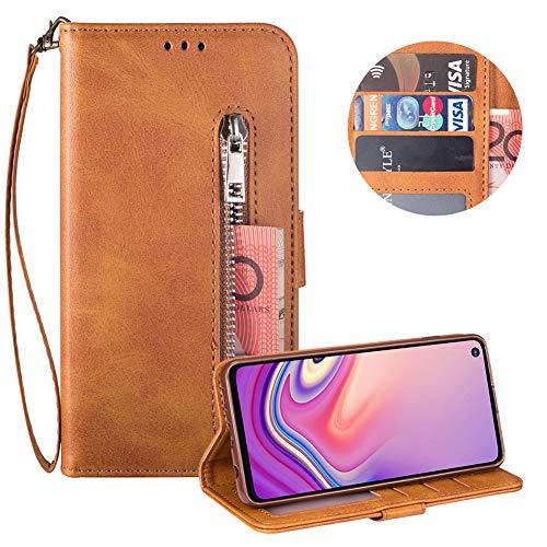 Reißverschluss Brieftasche für Samsung Galaxy S10E,Gurt Wallet Handyhülle für Samsung Galaxy S10E,Moiky Klassisch Braun Solide Farbe Klappbar Stand Leder Handytasche