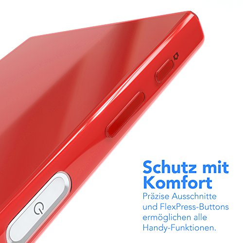 "Sony Xperia Z5 Compact Hülle - EAZY CASE Slimcover ""Clear"" Handyhülle - Schutzhülle als Smartphone Case in Grün Clear Rot"