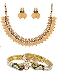 Zeneme Dancing Peacock Gold Plated Bangles & Red Green Coin Copper Jewellery Set For Women