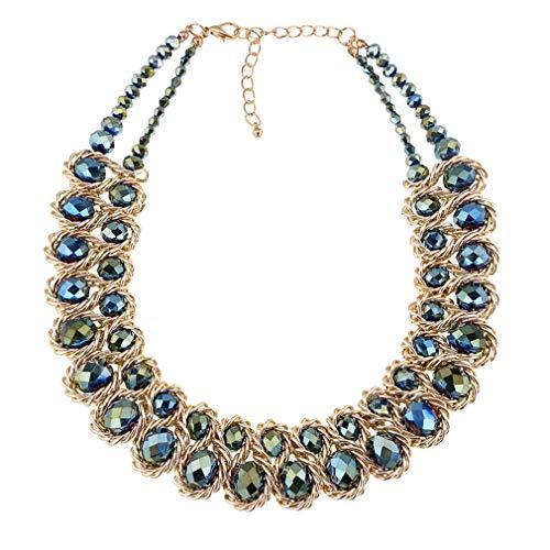 Yazilind Frauen Halskette Kristall Strass Aluminium Kette Grün Schlüsselbein Schmuck Retro Ethnische Kragen Aussage (#1) -
