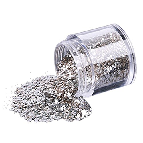 FORH 10g / Box Gold Silber Nagel Glitter Powder Shinning Nagel Spiegel Pulver Fashion Damen Nail Glitzerpuder Chrom Pulver Kunst Dekoration für Make-up und Nagelkunst (Silber)
