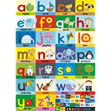 Happy Spaces Laila Hills - Póster infantil de tela, 50 x 70 x 2 cm, diseño del alfabeto en inglés
