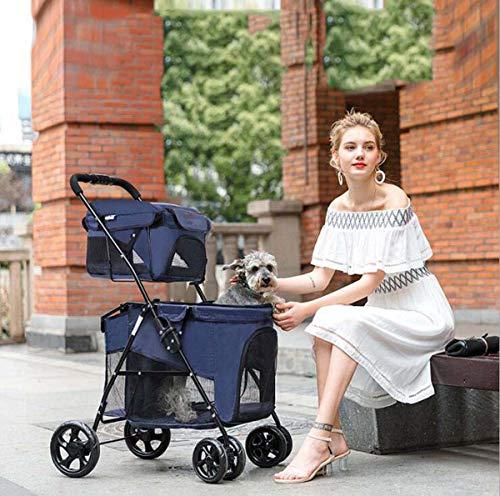 Ttyhch Kinderwagen 4-Rad-Kinderwagen für Pet Lightweight Folding Double Pet Stroller Kann mit 18 kg Waschbar geladen Werden
