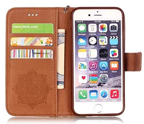 Apple Iphone 6 Plus (NOT FOR iPhone 6s 4.7) Hülle Leder Flip Wallet Cover Case, Nnopbeclik Folio PU Leather Blume Case Drucken Campanula Diamant Bling Handytasche Schutz Kristall Glitzer Bookstyle Han Braun