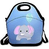 Lunch-Rucksack, Motiv Elefant mit Luftballon, groß und dick, Neopren, isoliert, Kühltasche, warm,...