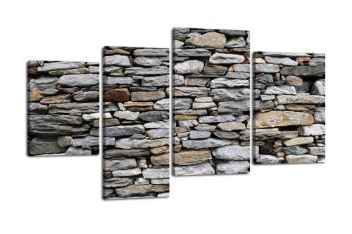 Price comparison product image LW73 Brick Wall Mural Canvas Picture 4 pieces, 180 x 115 CM, XXL, with Stretcher Frame, Stone, rocks, edge