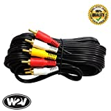 World2view™ 1.5 Mtr - 3 Pin RCA Cable Male to Male 6.6 ft - Suitable for Display - Monitor - LCD - LED - TV, DVD, Home Theatre and Projector