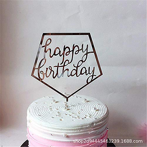 HPPL alles Gute zum Geburtstag Englisch Kucheneinsatz Spiegel Acryl Stecker Kuchen Dekoration Kunststoff Backeinsatz, Silber 4 (Heiße Und Schwarze Rosa Geburtstags-dekorationen)