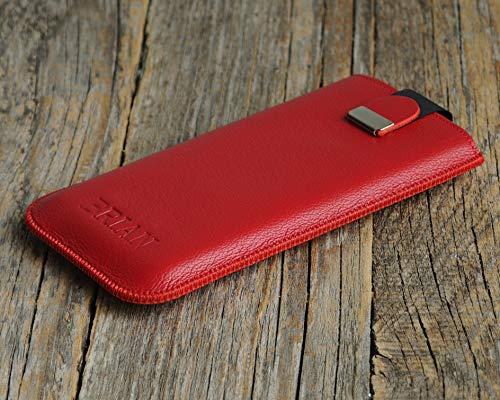 Rot LG V30 Case Leder Hülle Tasche Etui Cover personalisiert durch Prägung mit ihrem Namen, Monogramm.