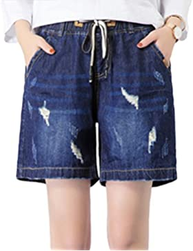Yuanu Donna Loose Casual Vita Alta Distressed Jeans Moda Vita Elastica Coulisse Denim Shorts Dritti